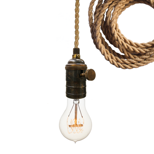 Nautical Ship Rope Cloth Cord Bronze Bare Bulb Pendant Light