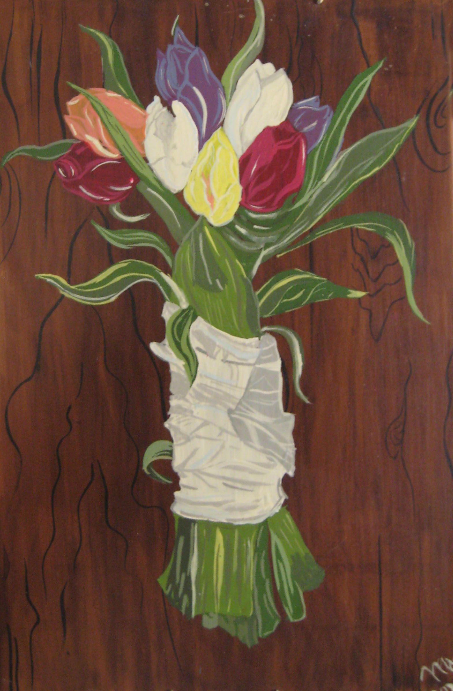 Cuadro pintado a mano. Tulipanes.Técnica acrílicos sobre baldosa. Por Mar Laguna Checa.Diseñadora de Interiores.
