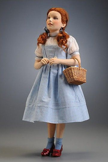 """Dorothy has been vividly brought to life by R. JOHN WRIGHT DOLLS for the first time in the medium of molded felt.    Standing 16 1/2"""" tall,"""