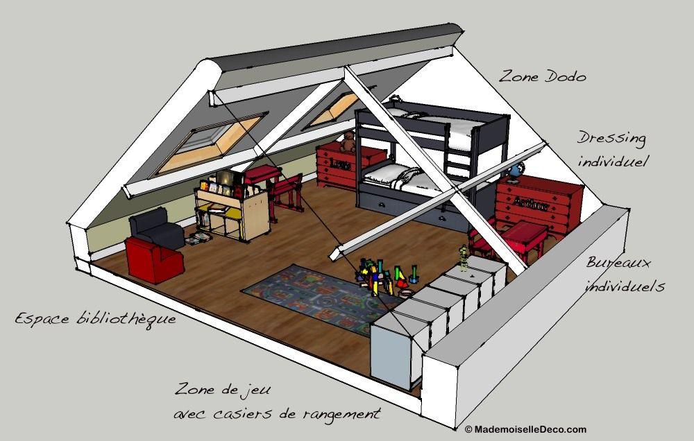 chambre multiple j 39 installe ma tribu sous les combles chambre pour enfant pour enfants et. Black Bedroom Furniture Sets. Home Design Ideas