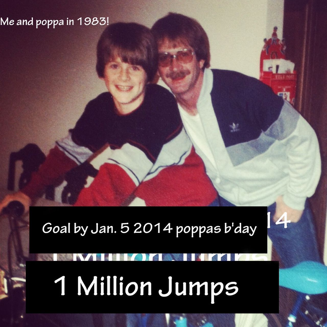 This is me and my father in 1983, he died last year of lung cancer and he inspired me to bring awareness to nutrition and cancer prevention. Please like FB or follow me on twitter for jumps. 1 like =1 jump, 1 follow = 1 jump, my goal is 1 million jumps  by Jan 5th 2014, his bday. I will post video of me jumping all over L.A. on my Facebook page.