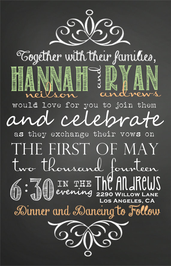 Custom Chalkboard Subway Peach And Mint Wedding Invitations