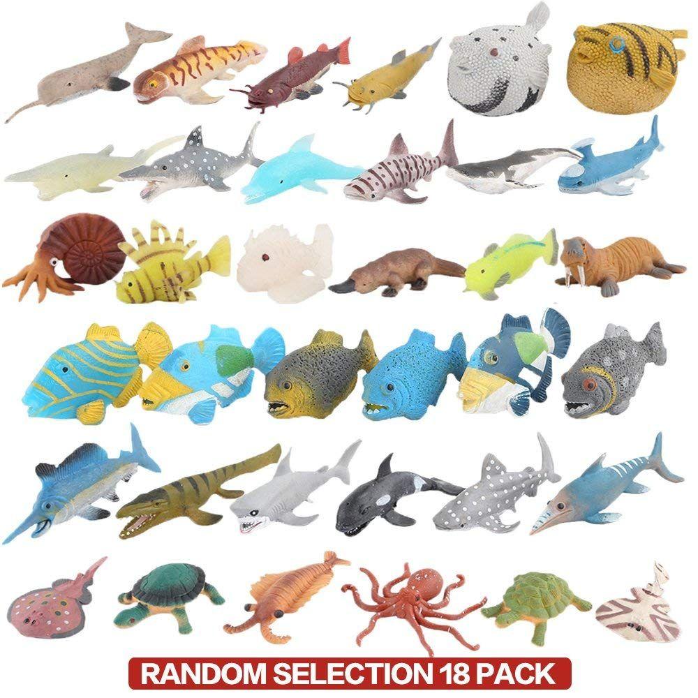 Ocean Sea Animal, 18 Pack Rubber Bath Toy Set, Food Grade
