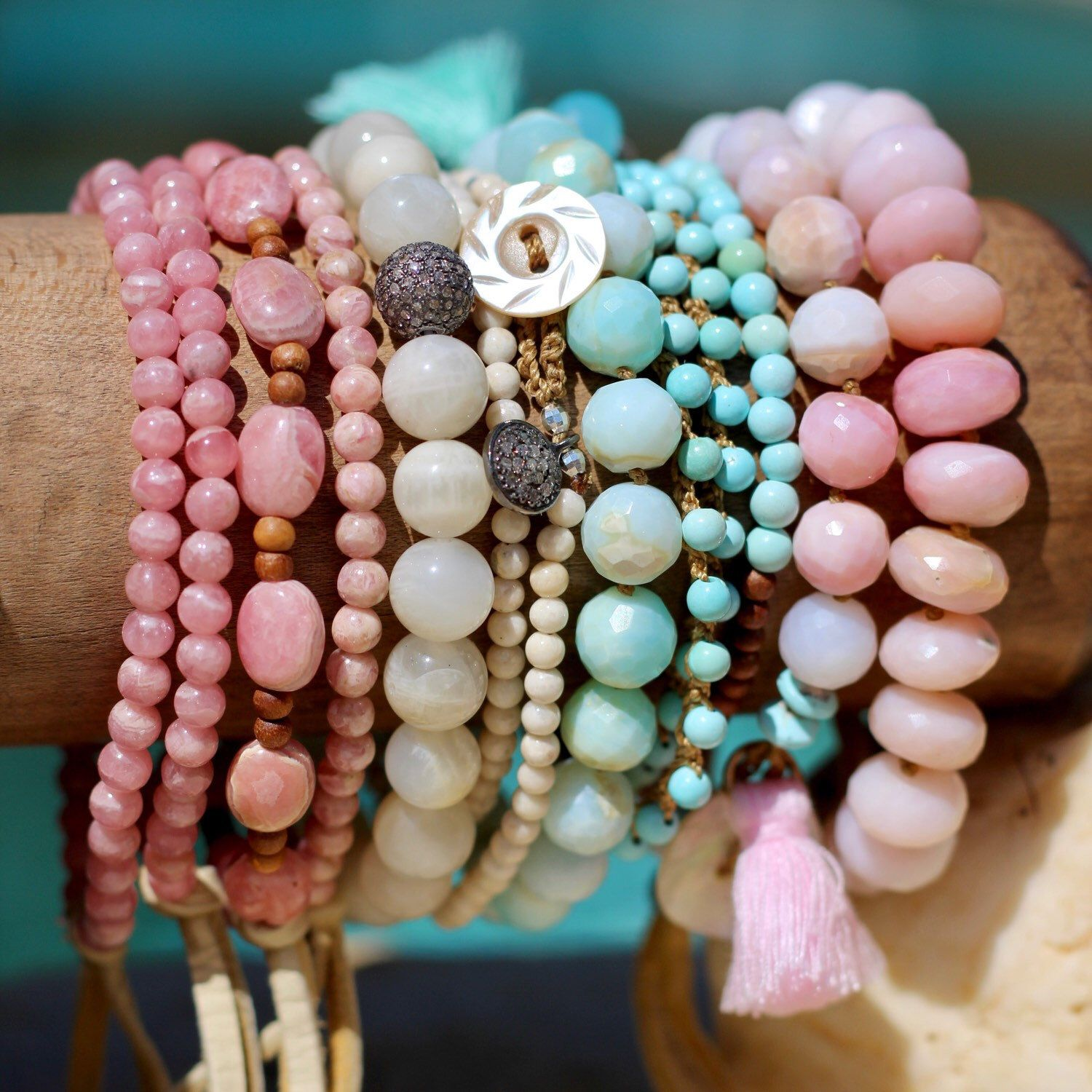 in item accessories strand opal head newest stone natural bracelet bracelets buddha jewelry charms pink women unique from bangles girls bead