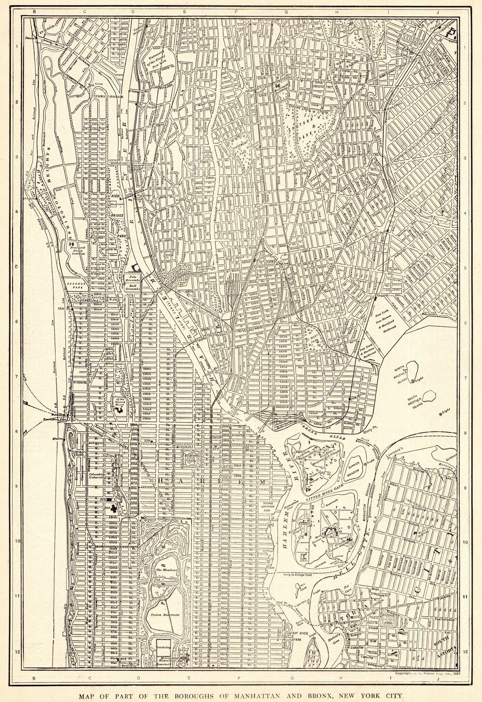 20 Antique MANHATTAN Street Map New York City Map The BRONX ...