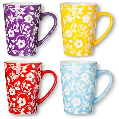 BIA Cordon Bleu Floral Mugs Set of 4 (16 oz)
