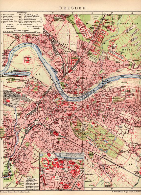 Dresden On Map Of Germany.1908 Dresden Germany Deutschland Dresden City Map By Craftissimo