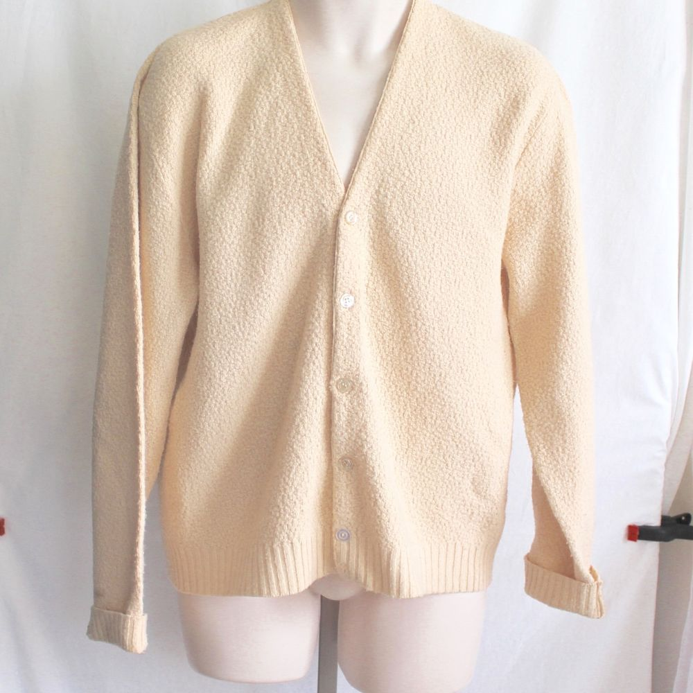 Vintage Cardigan Sweater Textured Acrylic Cream Colored John Blair ...