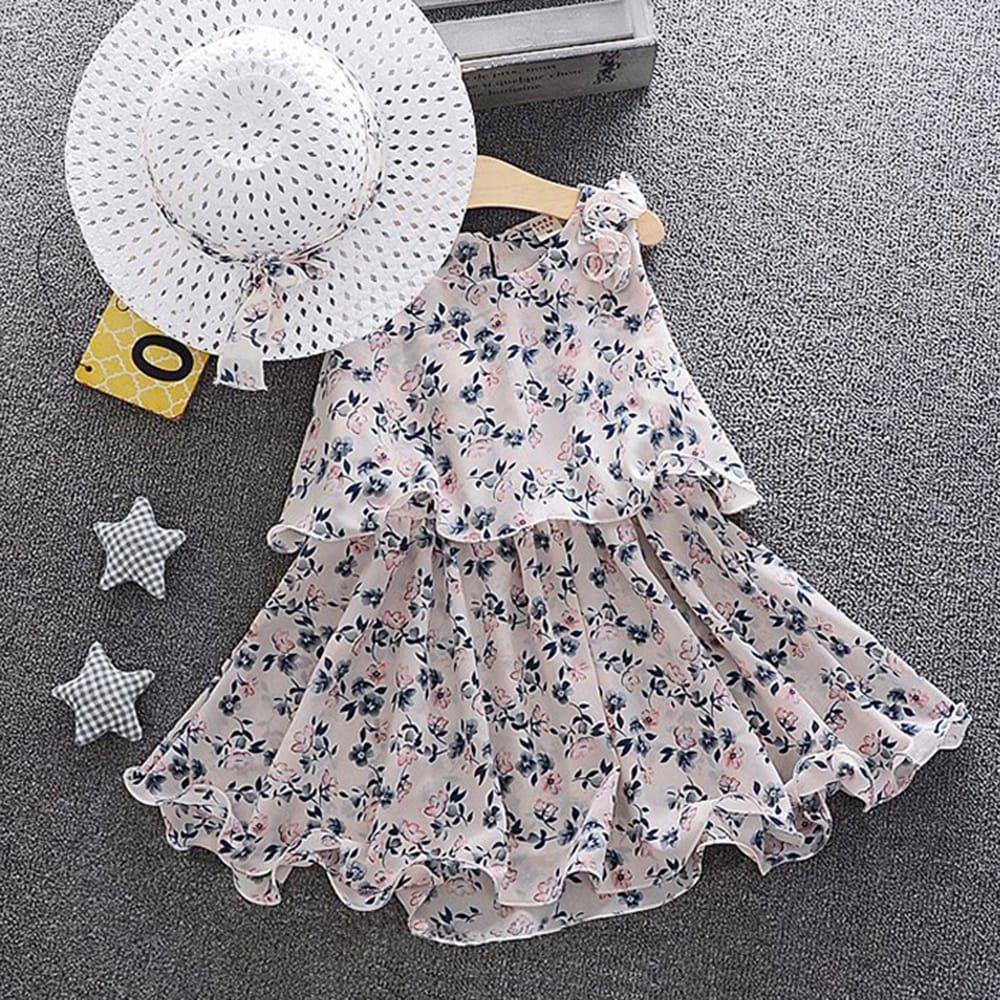 Casual Baby Girls Dress Sleeveless Floral Printed Princess Dress Kids Clothing