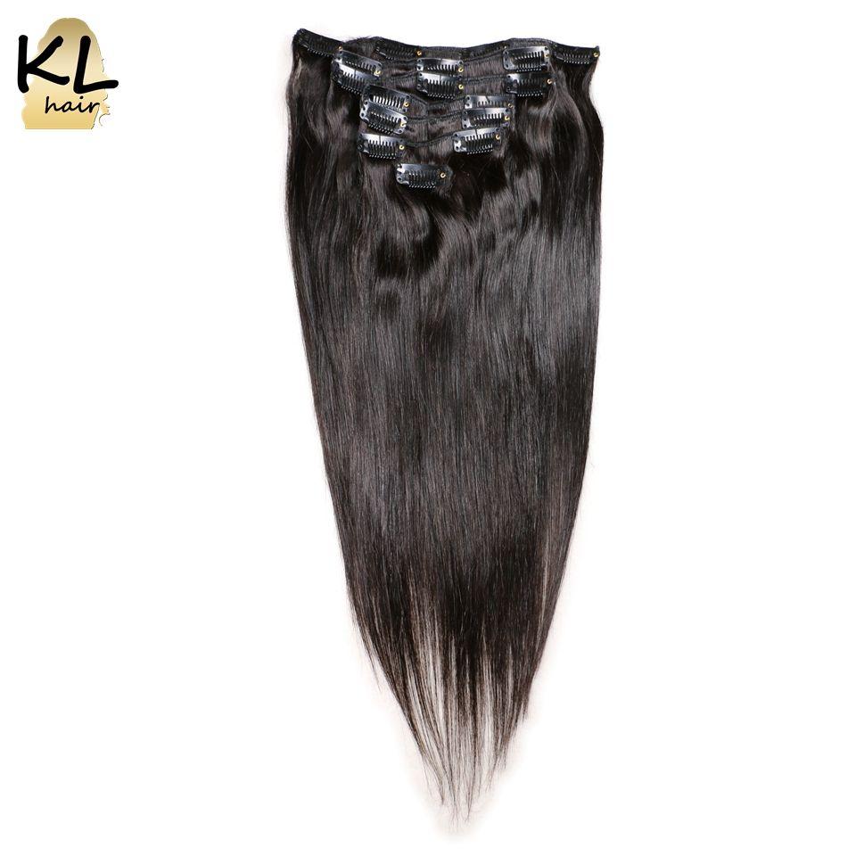Kl hair brazilian straight hair clip in human hair extensions