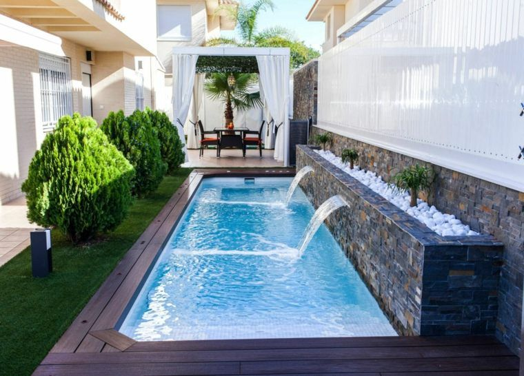 Amenagement Jardin Avec Piscine Moderne Chutes Eau Small Backyard Pools Small Pool Design Backyard Pool