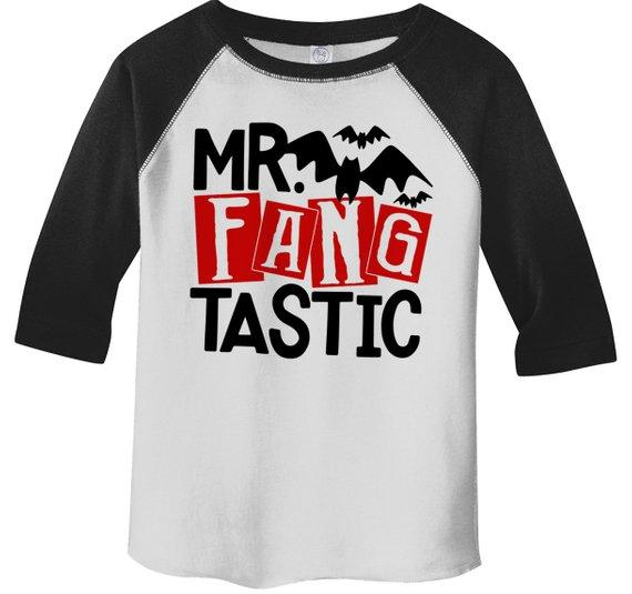 Boy's Funny Halloween Shirt Mr. Fang Tastic Vampire Toddler Shirts Adorable Halloween Top 3/4 Sleeve Raglan