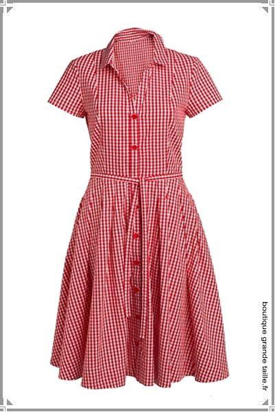 Robe vichy rouge femme