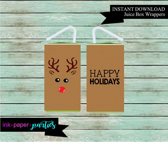 Printable Christmas Holiday Reindeer Juice Box Wrappers Party Etsy Christmas Printables Halloween Printables Christmas Holidays