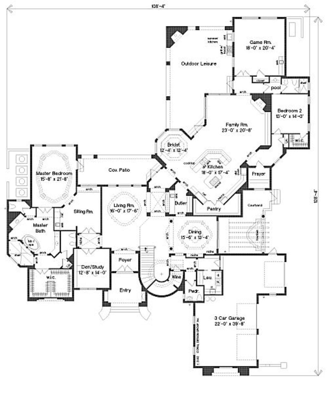 5 master bedroom house plans  Mediterranean Style House Plan   Beds  Baths  SqFt Plan