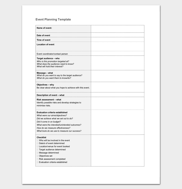 Event Planning Template Word Doc Event Planning Template Event Planning Worksheet Event Planning