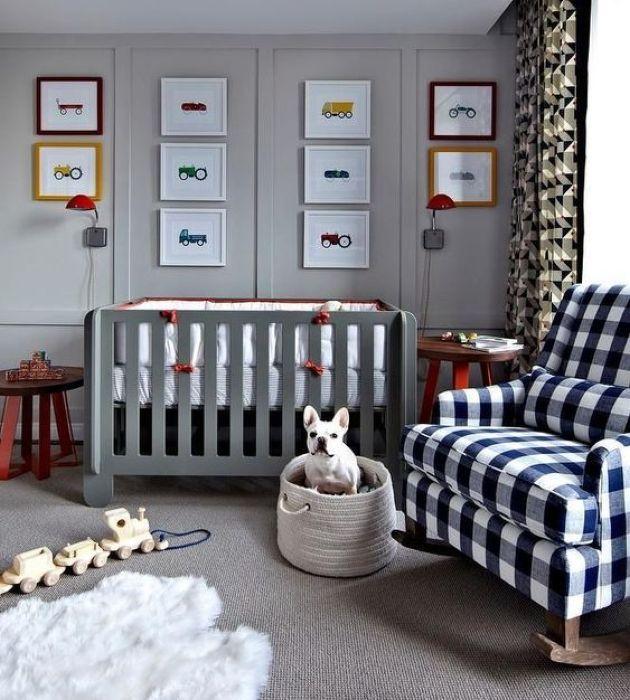 Nursery With Plaid Rocker Chair
