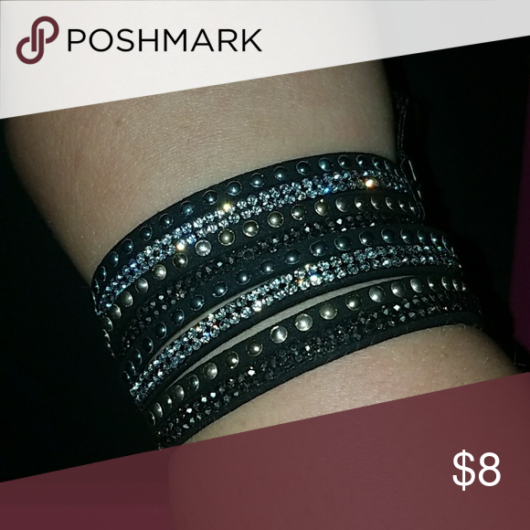 Leather And Crystal Wrap Bracelet Black Mutistrand