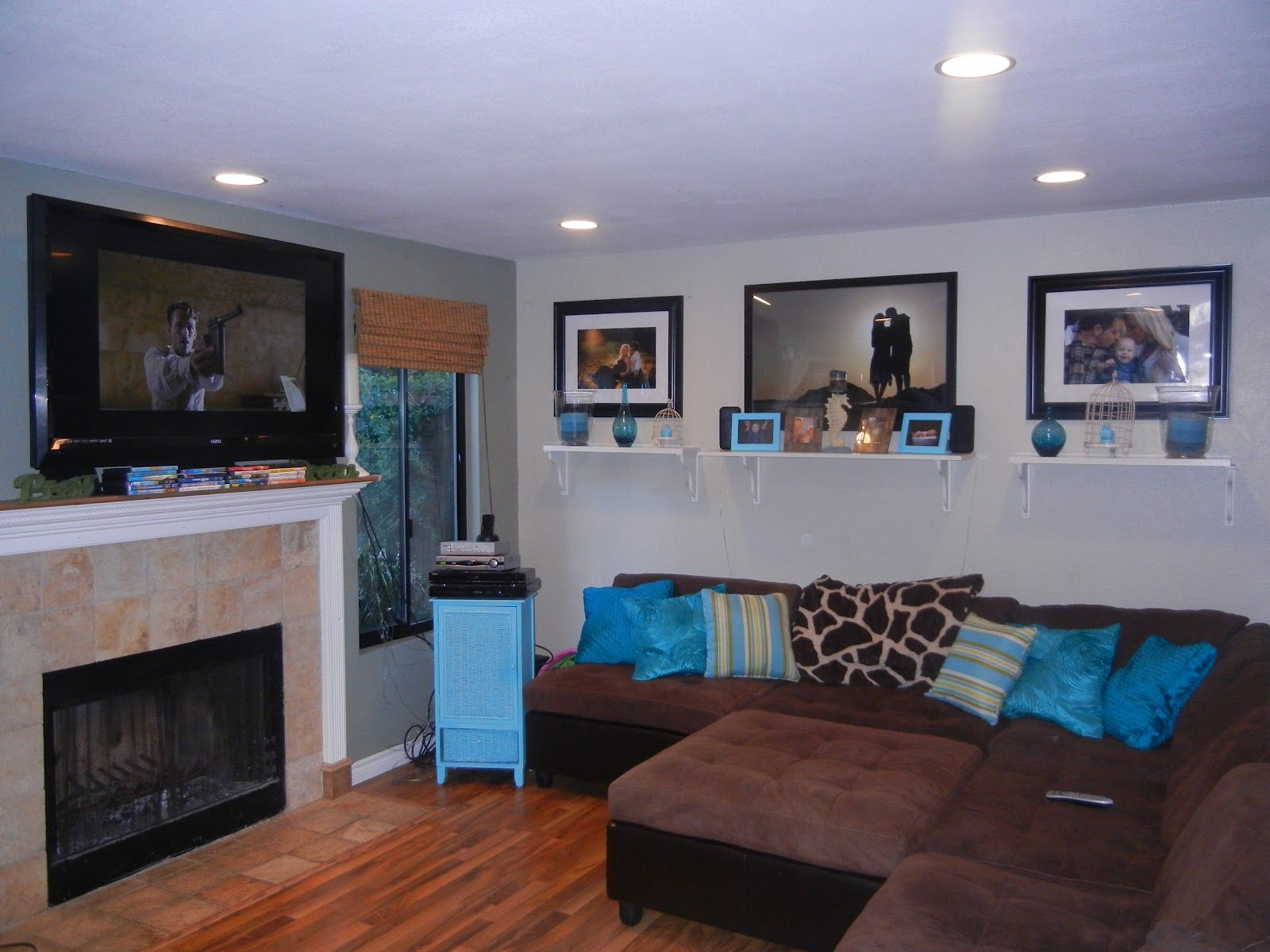 brown and turquoise living room ideas Google Search
