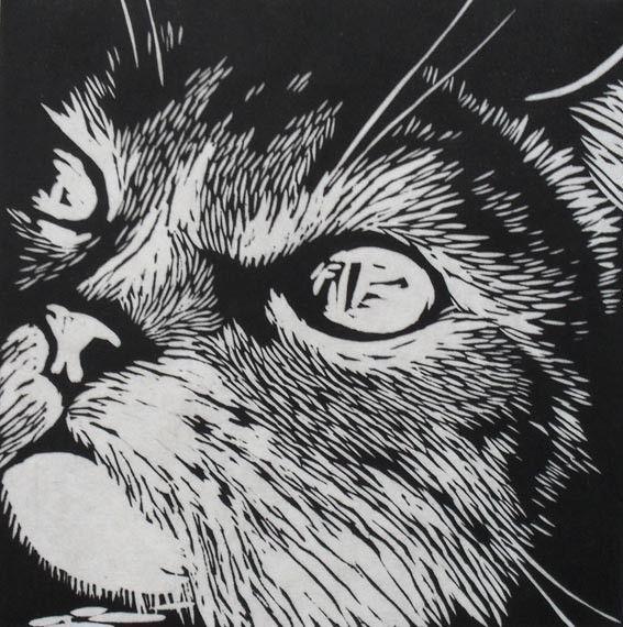 Cat linocut print rowanne anderson u k zoogdieren