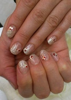 silver glitter tips new years eve nail art