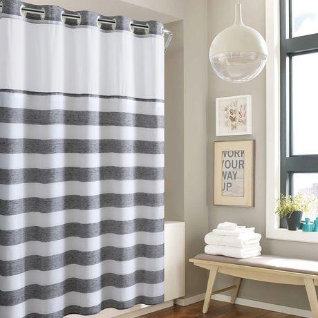 Hookless Yarn Dye Stripe Shower Curtain With Fabric Liner Grey 71
