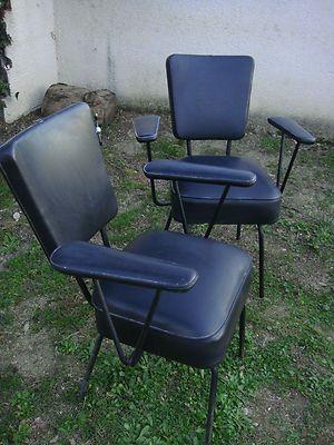 2 fauteuil vintage chaise 50 39 s 60 39 s coiffeur atelier industriel metier siege ameublement - Chaise bureau industriel ...