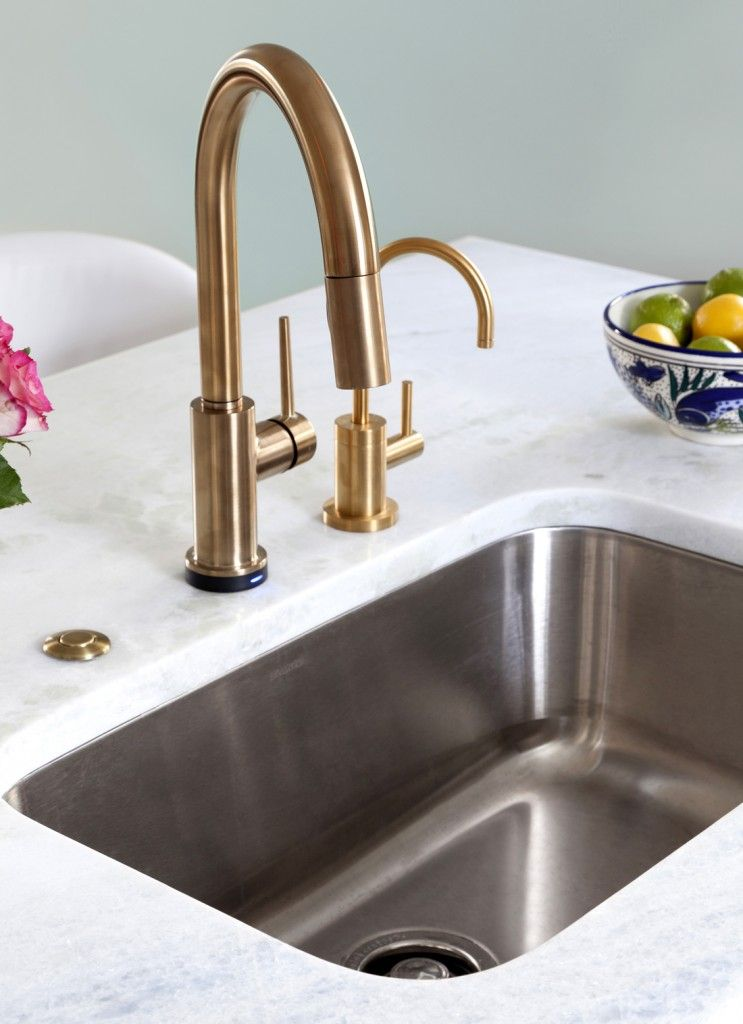 delta trinsic faucet in champagne bronze kitchen by