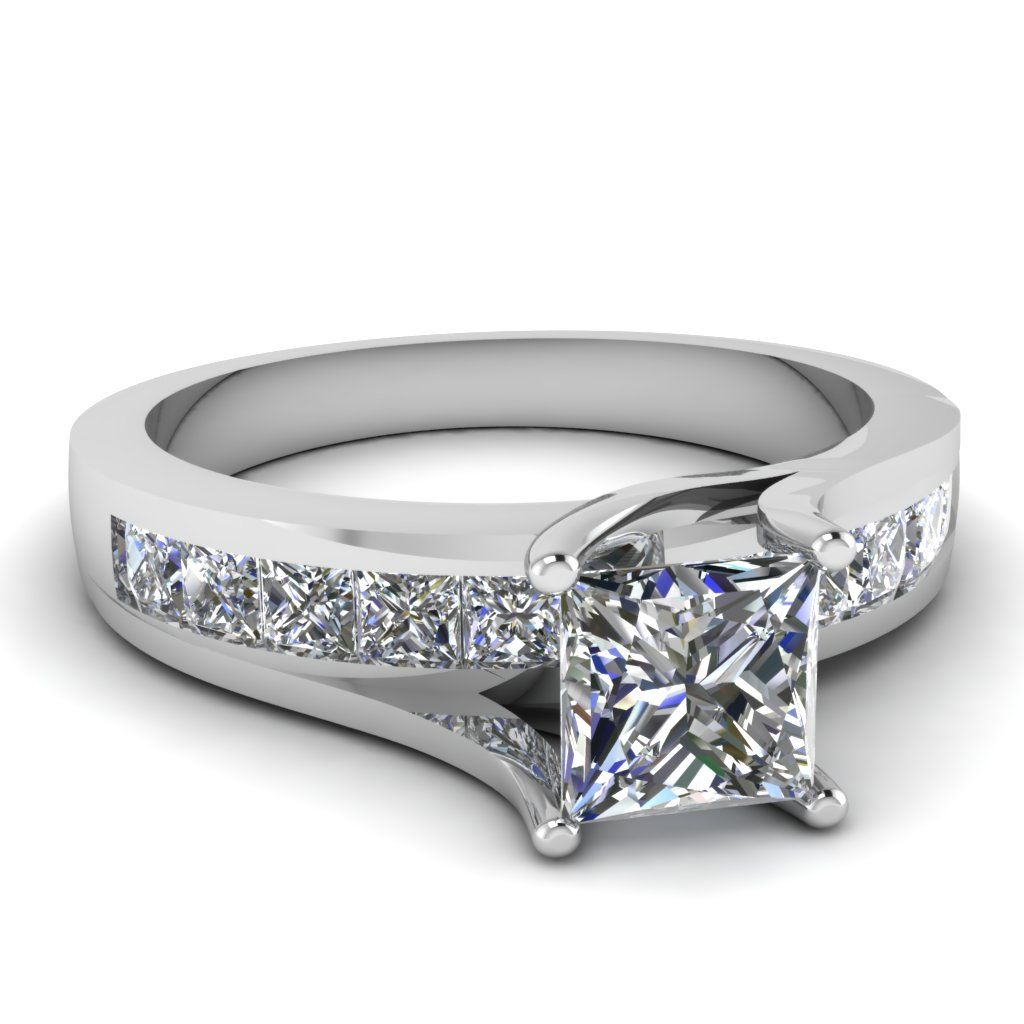 Spectacular Princess Bridge Ring Princess Cut diamond Side Stone Engagement Rings with White Diamond in White Gold exclusively styled by Fascinating Diamonds