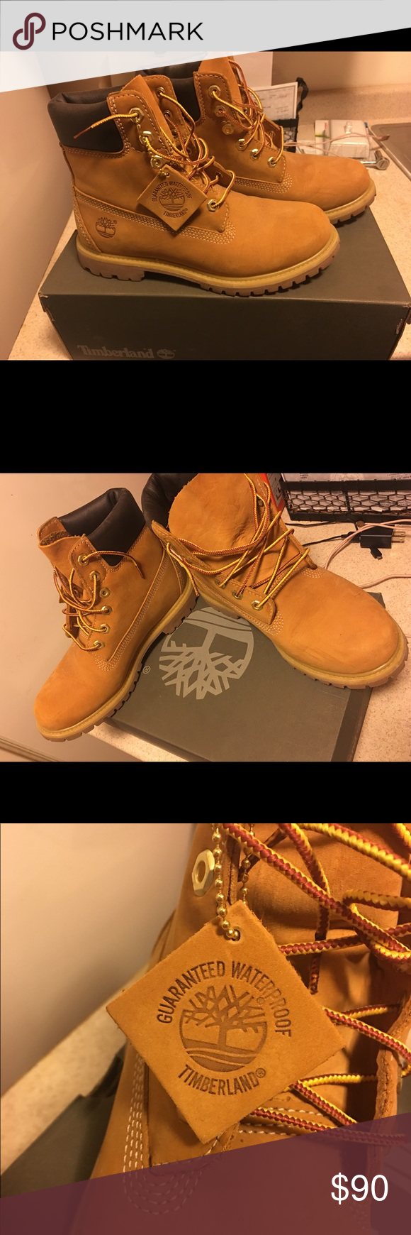 Timberland boots Traditional style Timberland boots. Worn a couple times but still in great shape! Timberland Shoes Combat & Moto Boots