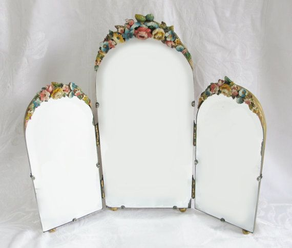 Barbola Mirror Antique English Country Cabbage Rose