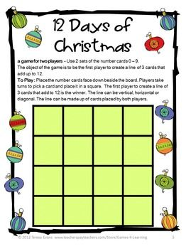 Math games 2 printable christmas board games school for Cool christmas math games