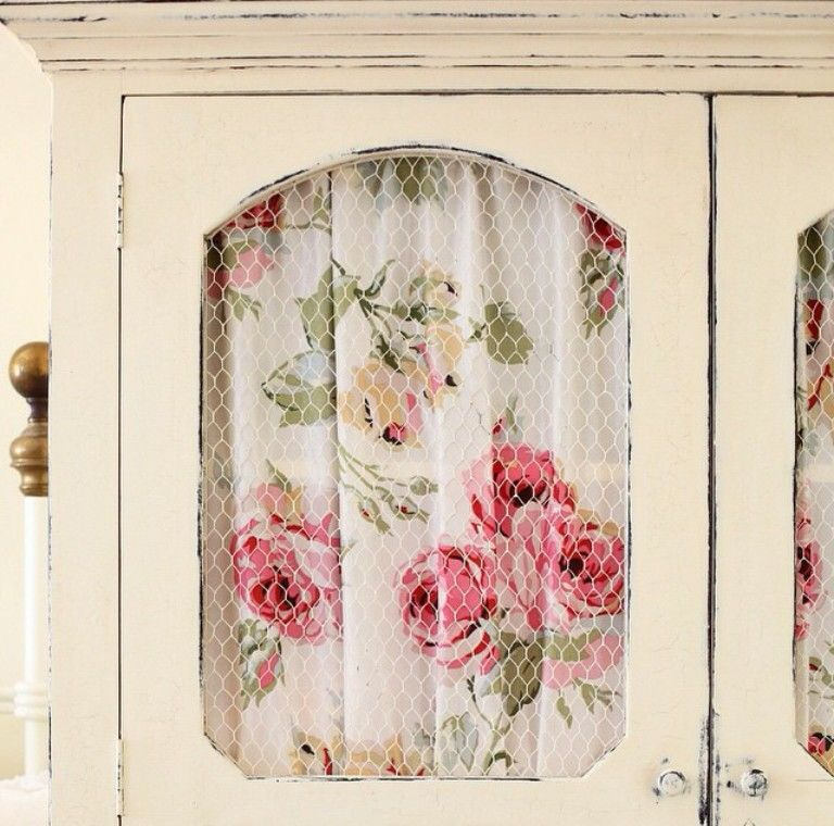 Laura Ashley Fabric Inside Cupboard Door With Chicken Wire Cupboard Doors Makeover Door Makeover Bathroom Cupboards