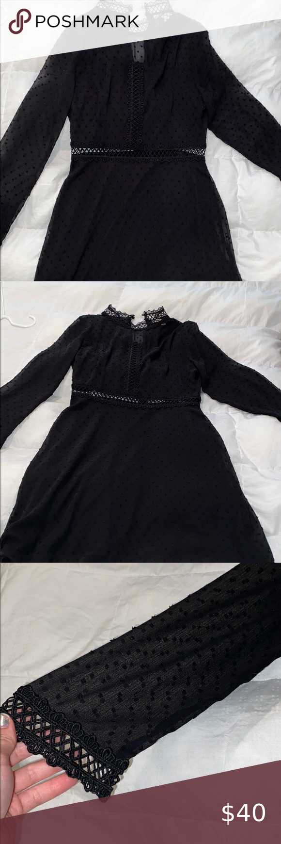 Black Dress This Is A Black Long Sleeve Dress The Sleeves Are Sheer And So Is The Top Part Of The Back There Is A Black Long Sleeve Dress Black Dress [ 1740 x 580 Pixel ]