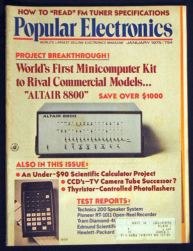 Popular Electronics Magazine January 1975 Issue Announces Altair