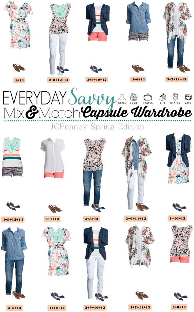 jcpenney capsule wardrobe for spring mix match. Black Bedroom Furniture Sets. Home Design Ideas