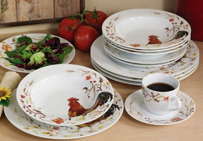 Collections Etc. Find unique online gifts at CollectionsEtc.com. Porcelain DinnerwareDinnerware SetsRooster ... & country farm plates cups and bowls images | 20pc Porcelain Rooster ...
