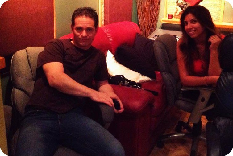 """Aragorn and Olivia Pucci' Takin' a Break from Recording Vocals w/Nashville Tracks this Afternoon in """"Studio A"""" @ +ES AUDIO Recording Studio in L.A.:)    Rock On!:) www.esaudio.com 2012"""