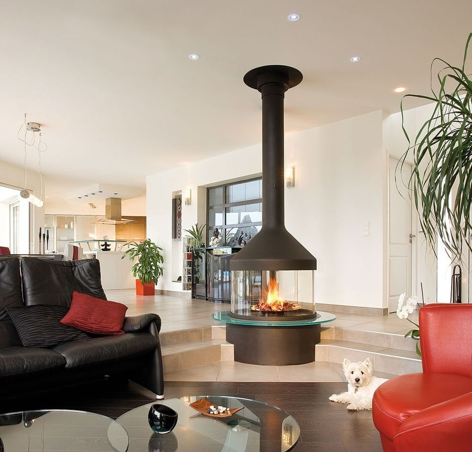 Contemporary Central Fireplace Living Room With Firep