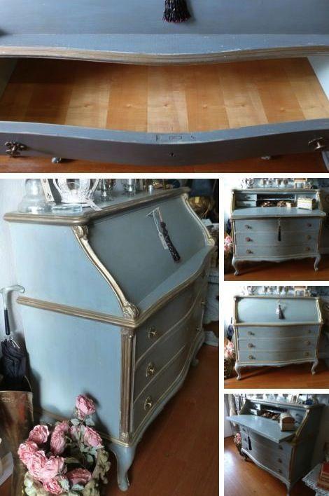 Gorgeous Imported Antique Drop Front European Secretary Desk With 3