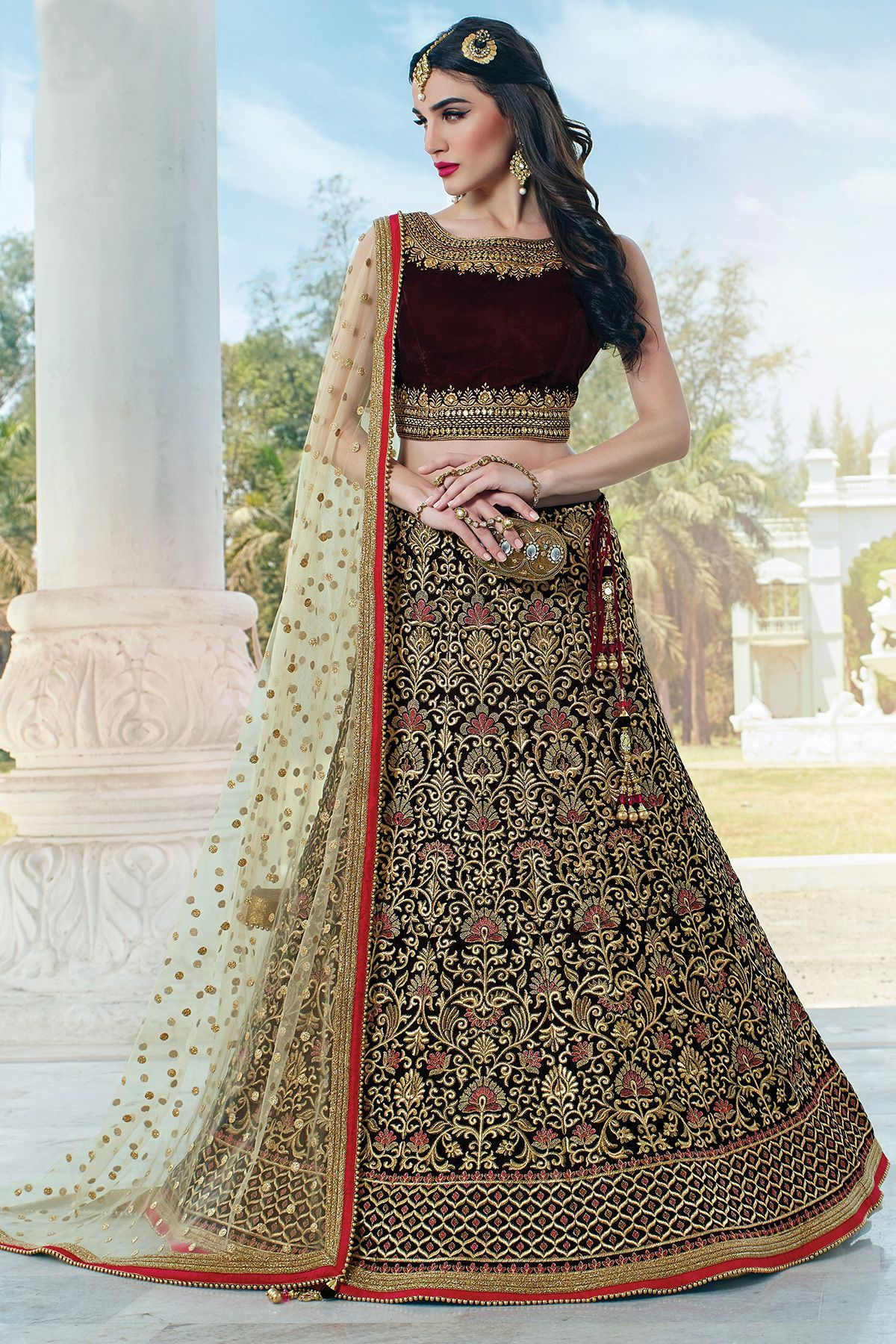 a45f529ade Brown Velvet Zari Embroidered Bridal Lehenga-GC2154 - Buy Online #lehenga  #designer #inidan #weddinglehenga #bridallehenga #velvet #zari #embroidered  ...