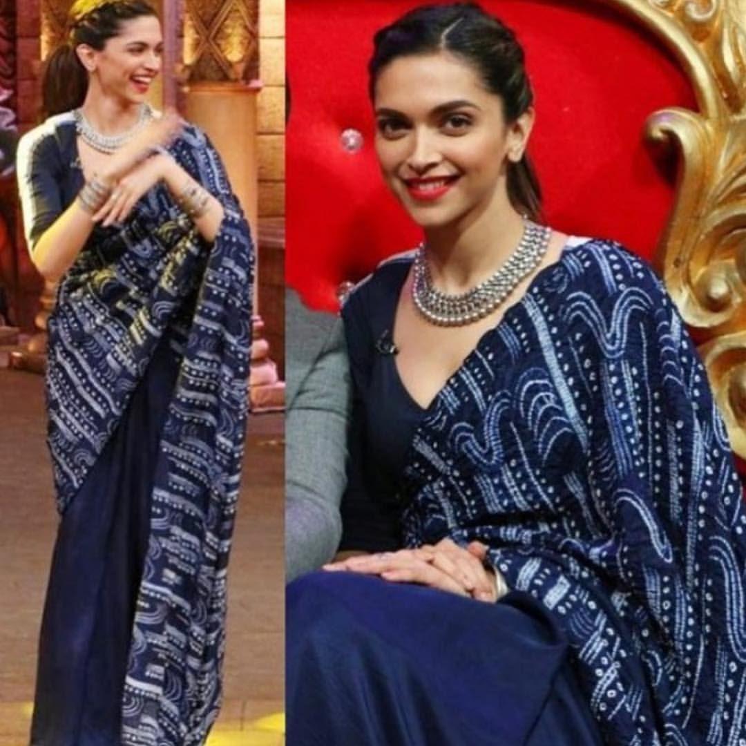 Saree blouse design for cotton saree deepikapadukone in an anamika khanna saree via elanthefashionstore