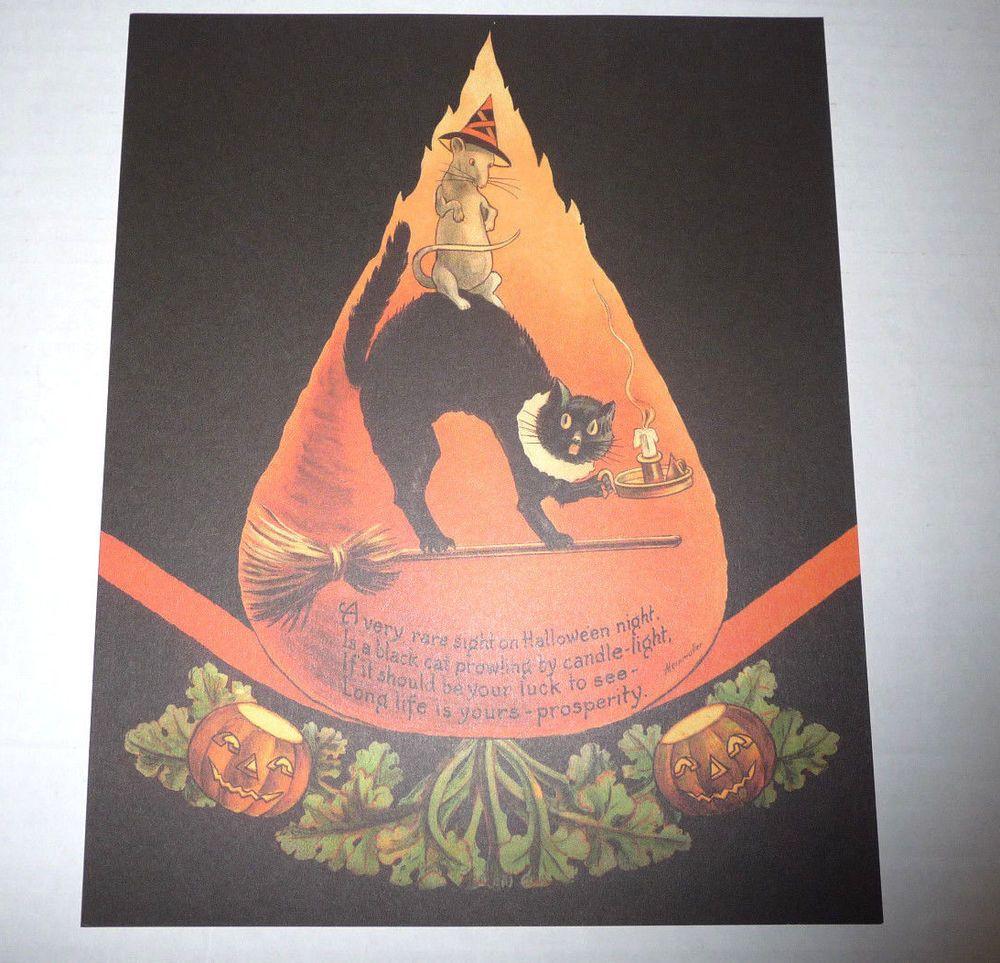 OLD HALLOWEEN PRINT OF VINTAGE 1920s ALEINMULLER PIECE WITH RAT ON BLACK CAT