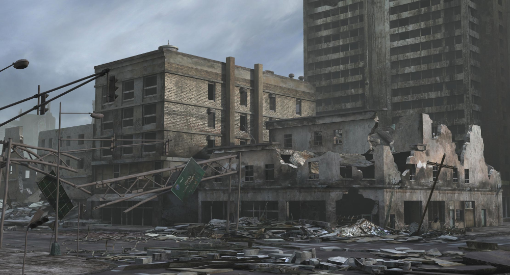 3d Model Of Ruined City Destroyed Buildings Ruined City City Scene Ruins