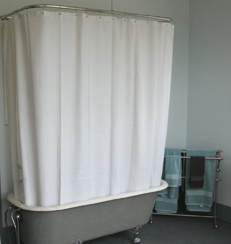 Extra Wide Shower Curtain For A Clawfoot Tub White With Magnets Curtainhomes Tubwhite 3