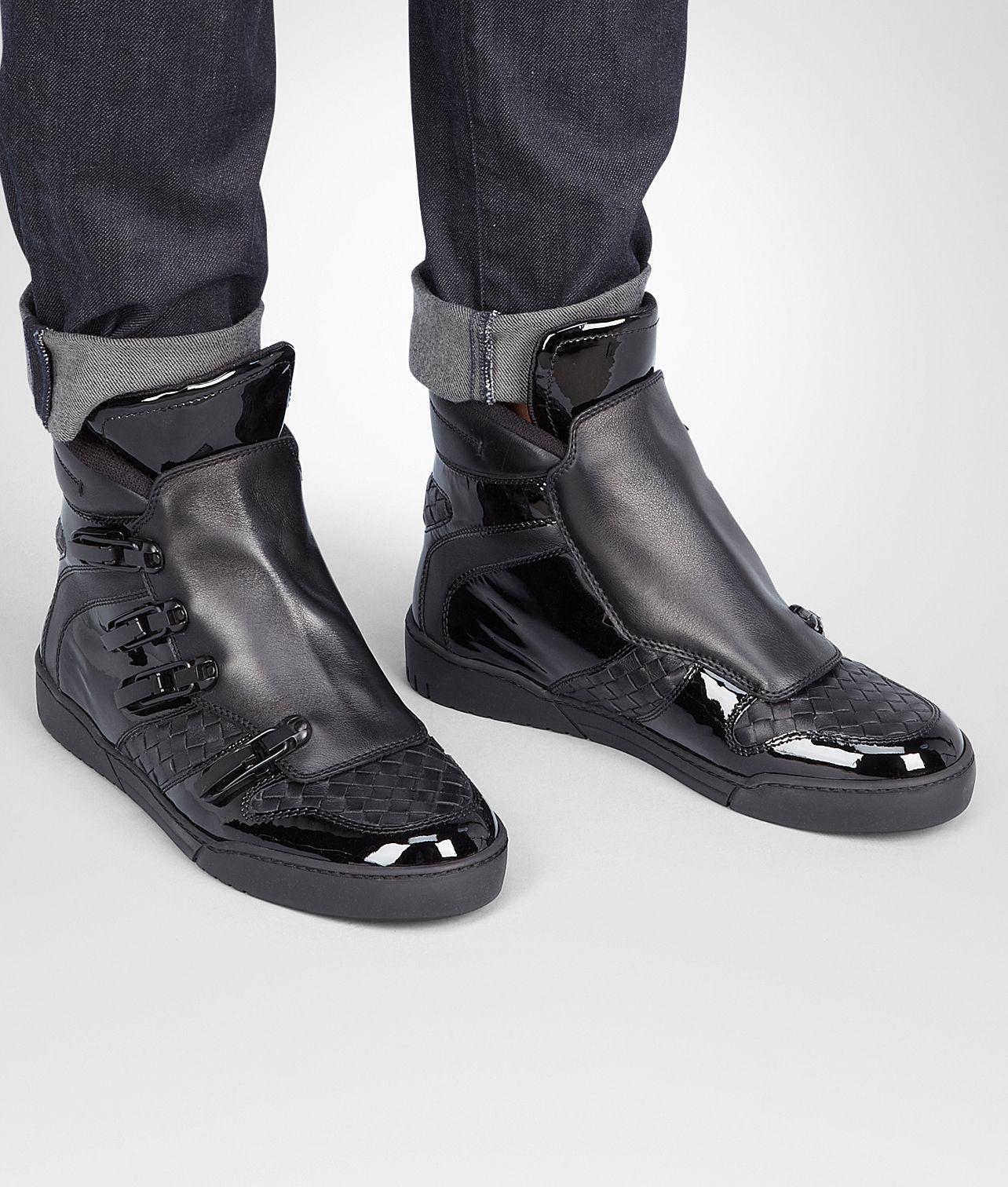 Bottega Veneta® - Nero Intrecciato Calf Vernis Sneaker