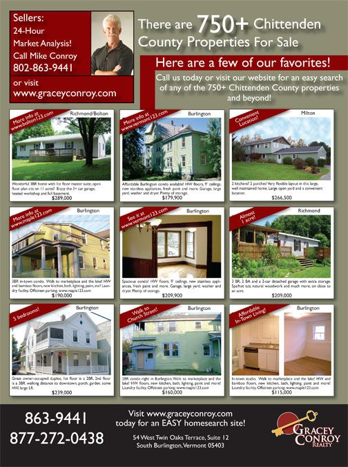 Full Page Magazine Ad for Vermont Realtor Real Estate Graphic - real estate market analysis