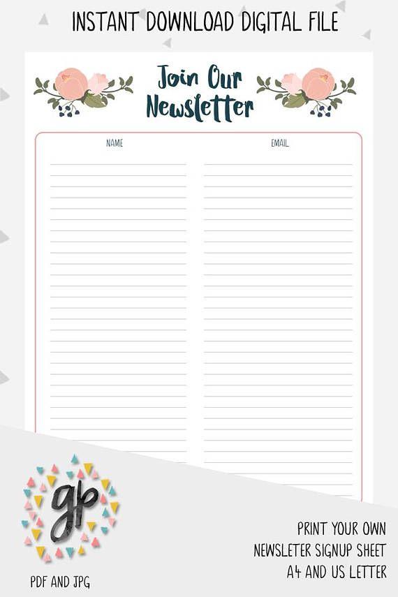 Newsletter Signup Sheet, Email Subscription list, Handmade Business