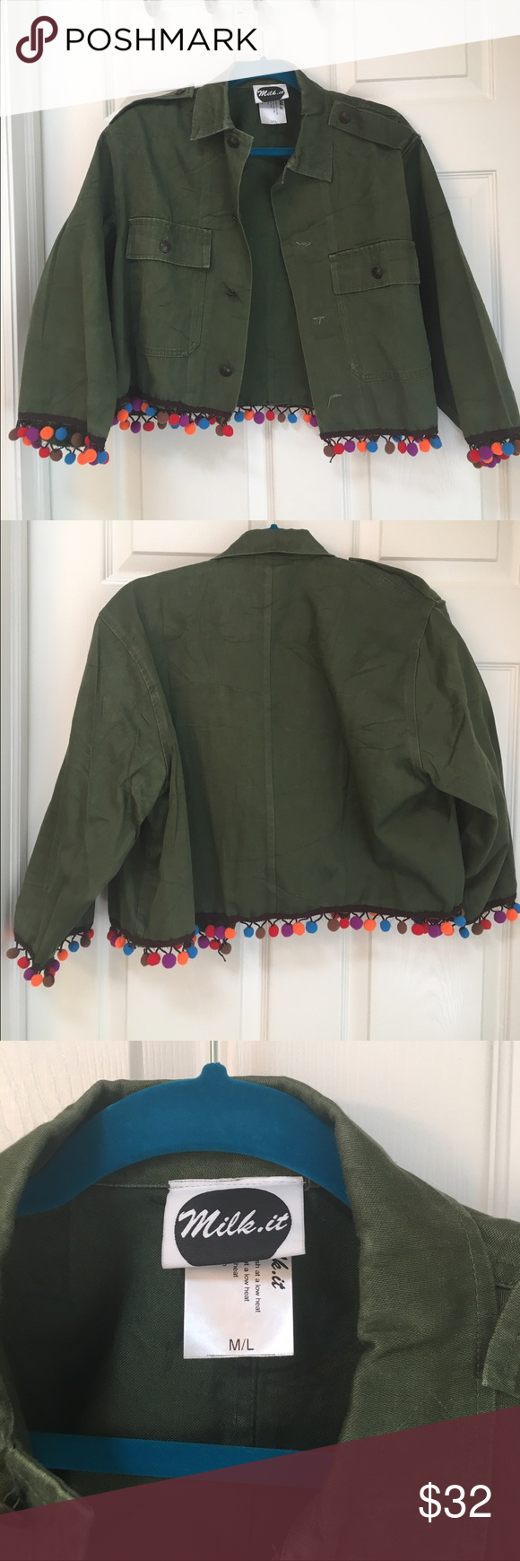 Asos Military Pom Pom Jacket NWOT. I got really into pom poms this summer and I regret nothing. This is a Milk It Vintage brand coat purchased on Asos, it is a M/L, and has a boxy fit. It did not fit me so I never wore it...I really just bought it because it was the last one on site and I have a shopping problem. ASOS Jackets & Coats Utility Jackets