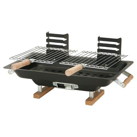 Century Steel Charcoal Hibachi With Cast Iron Grill Grids Hibachi Grill Outdoor Cooking Grills Portable Charcoal Grill